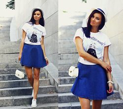 Anna Mour ♥ - Poustovit Art Printed T Shirt, Cndirect Denim Flared Skirt, Wholesalebuying White Crossbody Bag - Preppy