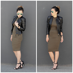 Marilyn N. - Blank Nyc Jacket, Rayban Aviator, Steve Madden Heels - Olive YOU!