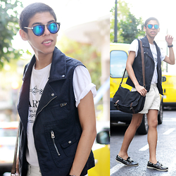 Andrés Barreto - Zerouv Sunglasses, Zara Vest, Asos Satchel Bag, Bershka Shorts - MEN IN WHITE.