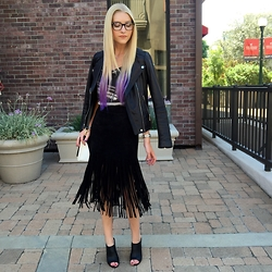 Heather Norgord - H&M Leather Jacket, Forever 21 Heels, Zara Fringe Skirt - Fringe en Motion