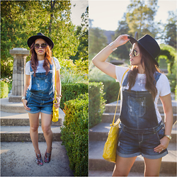 Lily S. - Overalls, Bag, Booties, Hat, Bracelet, Sunglasses - Over It All // Instagram @pslilyboutique