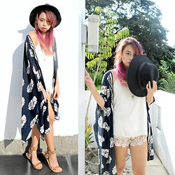 Alyssa Baña - Kimono, Wide Brim Fedora, Charles And Keith Gladiators, Forever 21 Lace Shorts - Feels like Summer