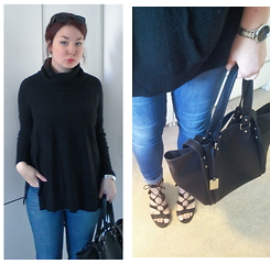 Tine Respirencore - Pimkie Turtle Neck Jumper, Only Skinny Jeans, Primark Sunnies, Nixon Watch, Tom Tailor Trapeze Bag, Nelly Shoes Strappy Sandals - Sunny autumn day