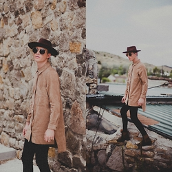 Ty French - H&M Suede Shirt, Asos Extreme Super Skinny Black Jeans, Forever 21 Faux Suede Fedora - ROCKY