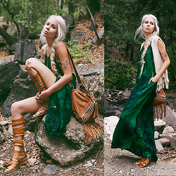 Sarah Loven - Love Nomadic Maxi Dress, Faryl Robin Gladiator Sandals, Mahiya Leather Bag, Indie Mae Fringe Vest, Raga La Arm Cuff - Into the Woods