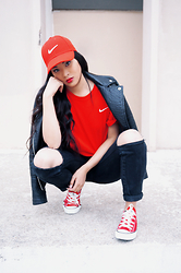 Leentokyo Hyh - Nike Red Hat, Nike T Shirt, Promod Leather Jacket, Converse Chuck Taylor - RED LOVE