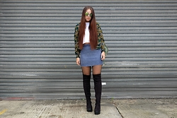 Amelia Breading - Public Desire Thigh High Boots, House Of Bricks Star Sunglasses, Rad Basic Tee - STARRY EYED