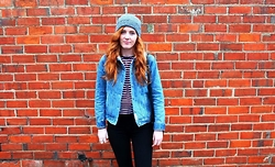 BeingSamNeill - Factorie Fisherman Beanie, Ghanda Wool Denim Jacket, Cotton On Striped Tee, Factorie Cassie Jeans - Brick