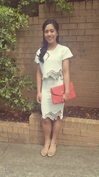 Geraldine Garcia D. - Luvalot White Cropped Top, Salmon Clutch, Sandler Nude Sandals, Luvalot White Skirt - All white on Valentine's.