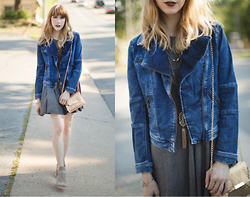 Ashley Treece - Maude Denim Moto Jacket - Denim moto