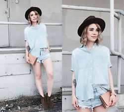 Mary Ellen Skye - Madewell Shirt, Isabel Marant Boots, One Teaspoon Shorts, Yellow 108 Hat - Denim blues