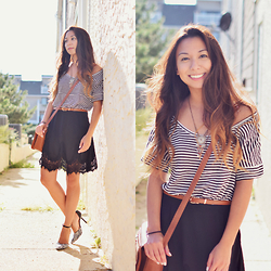 Melanie P. - Zara Striped Blouse, Macys Tribal Necklace, Zaful Lace Skirt, Lulu Animal Print Pumps - Cute Outfit for a Sunny Day