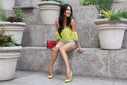 Rachel Vogt - Tobi Crochet Top, Tobi Distressed Jeans Short, Jimmy Choo Anouks, Chanel Boy - Yellow Fever