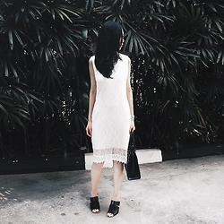 Audrey Tan - Salvatore Ferragamo Work Bag, Calvin Klein Heels, White Lace Dress - Lace Workwear