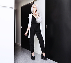 Julia Nilsson - Shein Black Jumpsuit, H&M Gray Cardigan - Monochrome