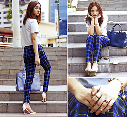 Aileen Belmonte - Shop The Berries Cropped Top, Blue Tartan Trousers, Zara Ankle Strap Heels, Tory Burch Tote Bag - Am I Blue?