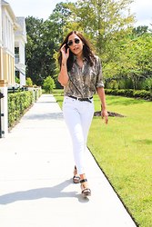 Lisa Gonzalez - Sunglass Hut Ray Ban, Ralph Lauren Button Up - Python Print