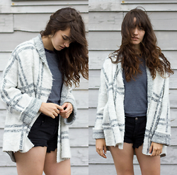 Tonya S. - Free People Window Pane Check Jacket, Urban Outfitters Striped Tee, Free People Runaway Cutoffs - Cozy Prints
