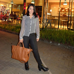 Nafisa Salma - Zara Brown Bag, H&M Ankle Boots, H&M Stripes Blouse - Back to the City