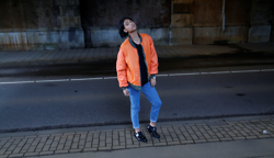 John Setrodipo - Topshop Mom Jeans, Zara Top - ORANGE