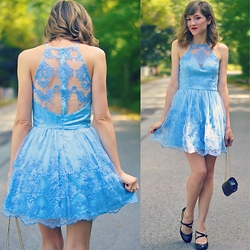 Lauren Douglas - Chi London Petite Halter Neck Lace Dress - Baby Blue Ballerina Dress