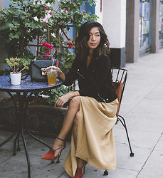 Stephanie Liu - Rebecca Minkoff Jacket, Reformation Dress, Malone Souliers Heels - Fall Chic