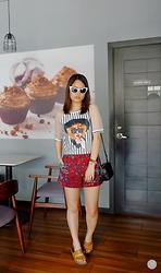Zaira Chan - Zerouv Cat Eye Sunnies, Get Spotted Top, Topshop Shorts - Fall Undertones