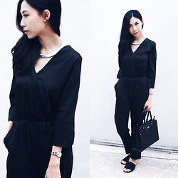 Audrey Tan - Black Romper, Salvatore Ferragamo Work Bag - Silver On Black