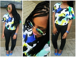 Barati Kesamang - Mrp Colorful Crop Top, Jet Skinny Jean, Jet Blue Flats/ Pumps, Chinise Shop Watch - Color, zits, sunnies, SPRING + MEEE!