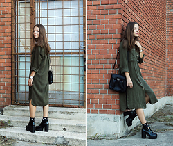 Emma Istvanffy - Pull&Bear Dress, Blackfive Boots, Persun Bag - Army