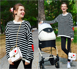 Malinina-ek - - Sheinside Sweater, Sheinside Bag, Converse Shoes - Stripe and heart)
