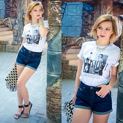 Svitlana L - H&M Necklace, Pull & Bear Shorts, Pull & Bear Clutch, Poustovit T Shirt - Enjoy every day of your life