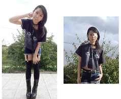 Nowaki Selenocosmia - Bershka Denim Spiked Short, Ebay Cat T Shirt, Black Boots, H&M Black Socks - Cat's eyes