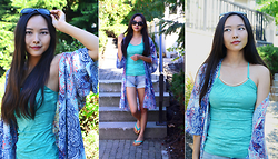 Julie Tao - Suzy Shier Spaghetti Strap Tank With Gold Necklace Thingyyy, Garage Clothing Kimonoooo, High Waisted Denim Shorts, Ardene Flip Flops!, Claire's Sunglasses - Blue Jay