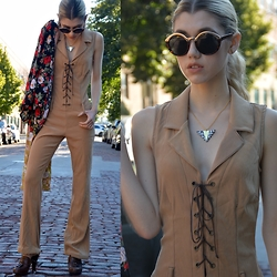 Dani Mikaela McGowan - Vintage Jumpsuit, Urban Outfitters Sunnies, Urban Outfitters Kimono - Laced Up
