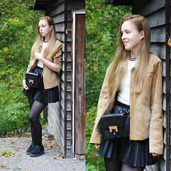 Noora Vesalainen - Mom's Old Suede Jacket, H&M Top, Lumi Bag, H&M Pleated Faux Leather Skirt, Underground Creepers - The Jacket