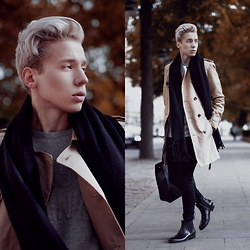 Janne Naakka - Acne Studios Scarf, Kiomi Coat, Topman Jeans, Versace Bag, John Varvatos Boots, Hugo Boss Sweater - FALL ESSENTIALS