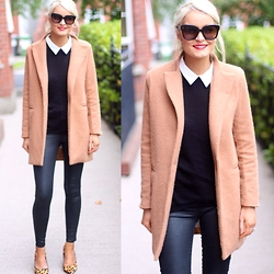Martina Reynolds - Sheinside Camel Coat, Primark Peterpan Collar Top, Topshop Leather Pants - Nothing but neutral