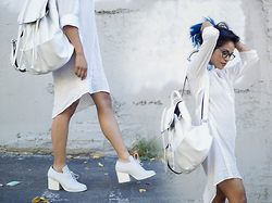 Eda Semana - Mellow World Leather Backpack, Urban Outfitters Lace Up Booties, Warby Parker Stockton, Harper Trends Sheer Back Shirt Dress - The All White Party