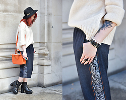 Sharley L. - Zara Dr. Bag, Zara White Knit, & Other Stories Rings, Psych | Being Denim Culottes - LFW - Day 1