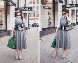 Vita K. - Asos Dress, Asos Shirt, Asos Belt, Michael Kors Bag, Tory Burch Shoes - Grey day