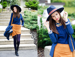 Mariya Marinova - Dress Link Camel Brown Skirt, Zara Shirt, Bershka Blazer, H&M Hat - Fall mode.