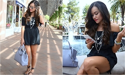 Gaby Gómez MODA CAPITAL - Choies Romper, Cartier Bag, Zara Shoes, Dior Shades - Black romper