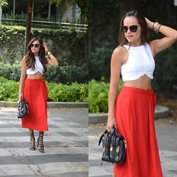 Gaby Gómez MODA CAPITAL - Choies Red Culotte, Phillip Lim Bag, Zara Top, Prada Sunglasses - Red Culotte