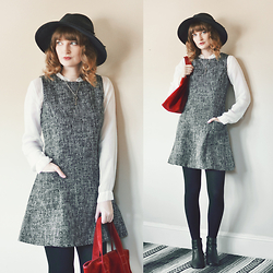 Anna C. - Thrifted Tweed Pinafore, Red Suede Bag, Light Years Celtic Key Necklace, Ankle Boots, Asos Wide Brim Wool Fedora, Johnny Was White Blouse - Tweed