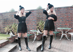 Anna C - Primark Bobble Hat, Forever 21 Dress, Forever 21 Belt, Olivia Burton Watch, Topshop Thigh High Socks, Dune Boots - Thigh High/Sky High (AHS 01.)