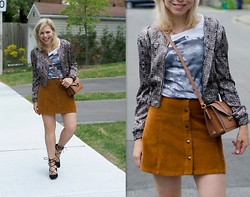 Liat Neuman - Zara Skirt, Club Monaco Bomber, Mango Bag - Suede skirt and lace-up shoes