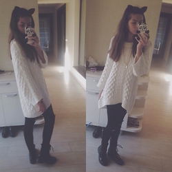 Andra Nechifor - H&M Sweater, H&M Pants, Zara Boots, H&M Kitty Earings - School outfit