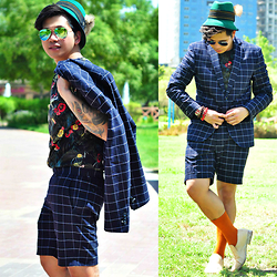 Butch Cervantes - Zara Short Suit, Zara Floral Tee, Maison Martin Margiela Loafers, H&M Socks - Shorty Short!!!