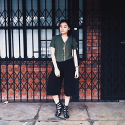 Richeen Siew - Lovisa Layer Necklace, Uniqlo Army Green Shirt, Black Culottes, Topshop Gladiator Boots - For the Day & the Night.